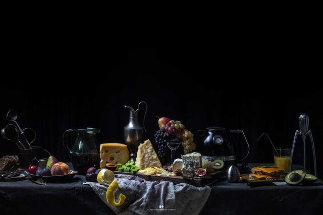 Фотосъемка композиций сыра на упаковку. CHEESE GALLERY. Фуд-стилист, фотограф Слава Поздняков.