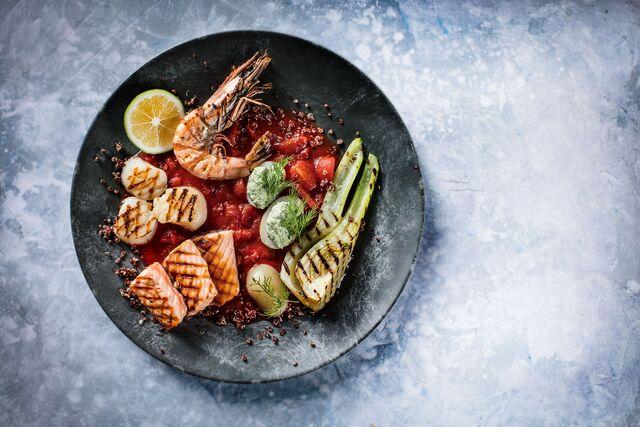 Фотосъемка блюда. Морепродукты с фенхелем и картофелем. Шеф-повар Леон Эк.Фуд стилист и фотограф Слава Поздняков