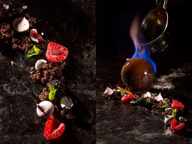 Фотосъемка десерта с горячим шоколадом для ресторана Метрополь. Фуд-стилист и фотограф Слава Поздняков