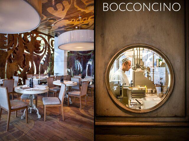 Фотосъемка интерьера ресторана Bocconcino. Кухня и зал ресторана.