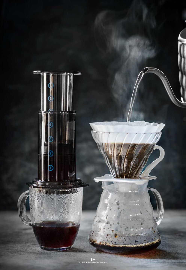 Фотосъемка кофе кемекс. Фотосъемка кофе пуровер. Фотосъемка напитков. Фуд-стилист, фотограф Слава Поздняков.