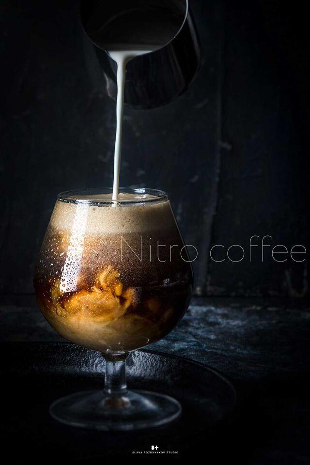 Фотосъемка кофе нитро. Фотосъемка напитков. Фуд-стилист, фотограф Слава Поздняков.