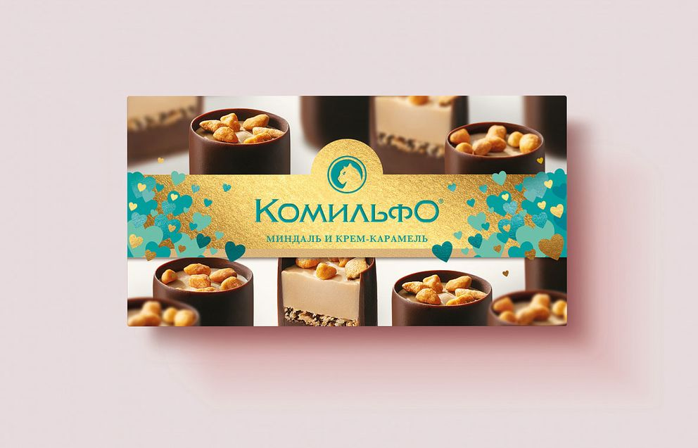 Фотосъемка на упаковку шоколадных конфет КОМИЛЬФО. Nestle. Фотосъемка шоколадных конфет. Фуд-стайлинг, компоновка, фотосъемка конфет. Фуд-стилист, фотограф Слава Поздняков.
