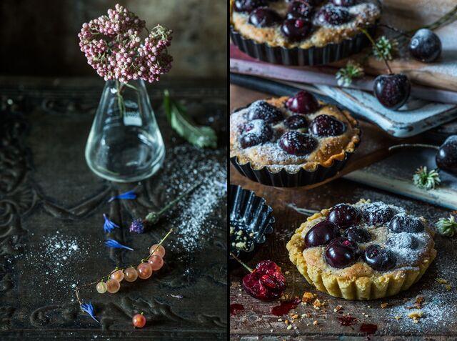 Постановочная композиция, фотосъемка блюд для книги. Тарталетки с вишней. Фуд-стилист и фотограф Слава Поздняков