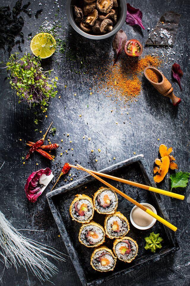 Фотосъемка композиции для обложки меню ресторана Ваби Саби. Фуд-стилист и фотограф Слава Поздняков | Slava Pozdnyakov