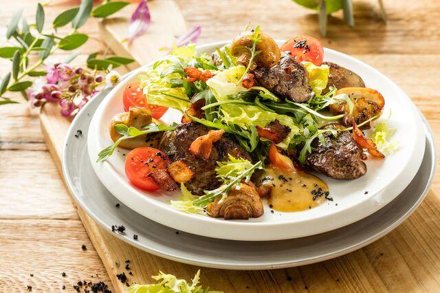 Фотосъемка куриной печени с грибами в медово-горчичной заправке. Фуд-стилист и фотограф Слава Поздняков | Slava Pozdnyakov