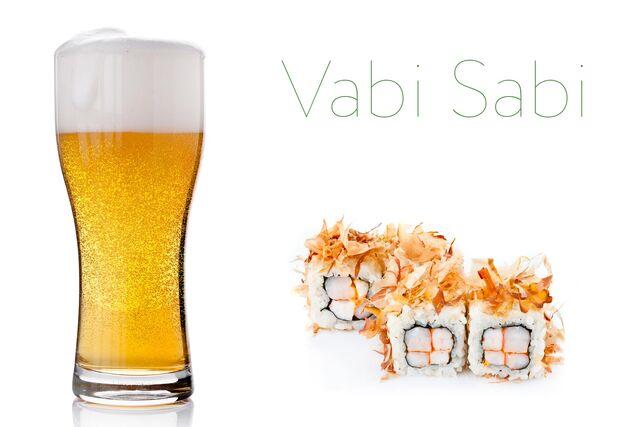 Рекламная фотосъемка пива с роллами  для Ваби Саби