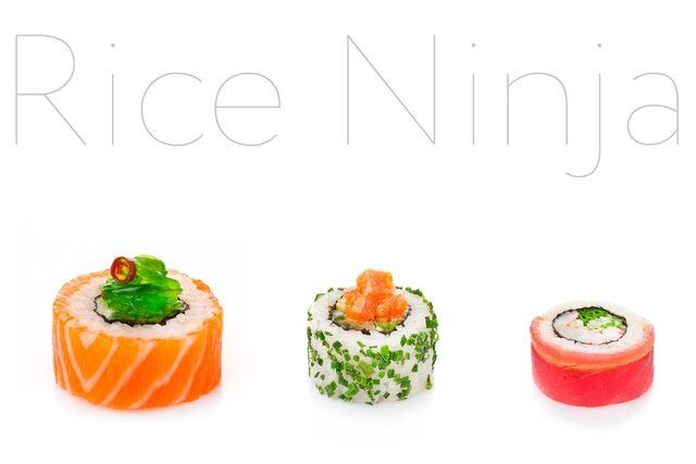 Фотосъемка роллов для меню ресторана Рисовый Ниндзя на белом фоне