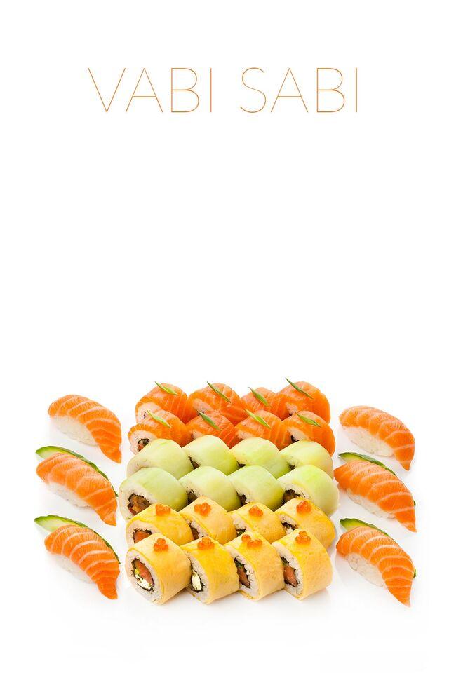 Фотосъемка сета роллов и суши для меню ресторана Ваби Саби