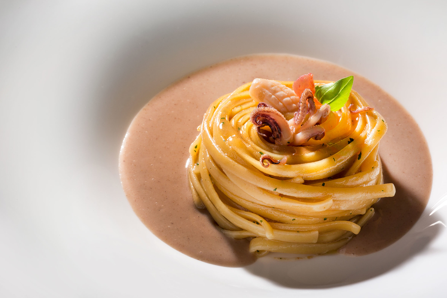 Фотосъемка спагетти Ванголе. Amarsi Restaurant.
