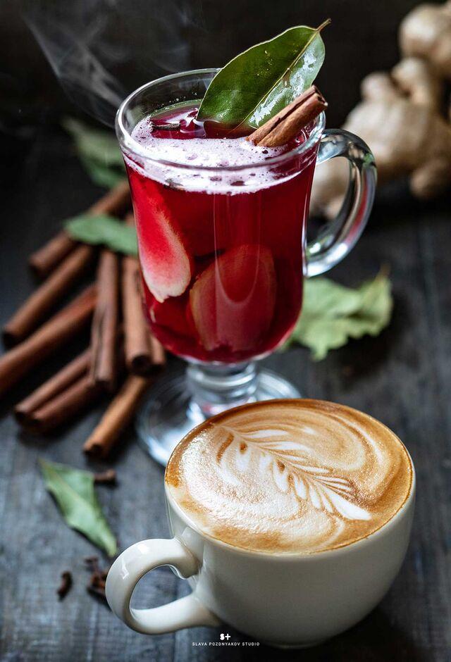Рекламная фотосъёмка напитков, чая, кофе. Фотосъемка для меню. Фотосъёмка композиций напитков. . Фуд-стилист, фотограф Слава Поздняков.