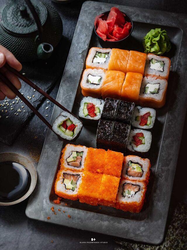 Фотосъёмка блюд. Фотосъёмка суши, роллы. Фотосъемка для меню. Фотосъёмка композиций блюд. Фуд-стилист, фотограф Слава Поздняков.