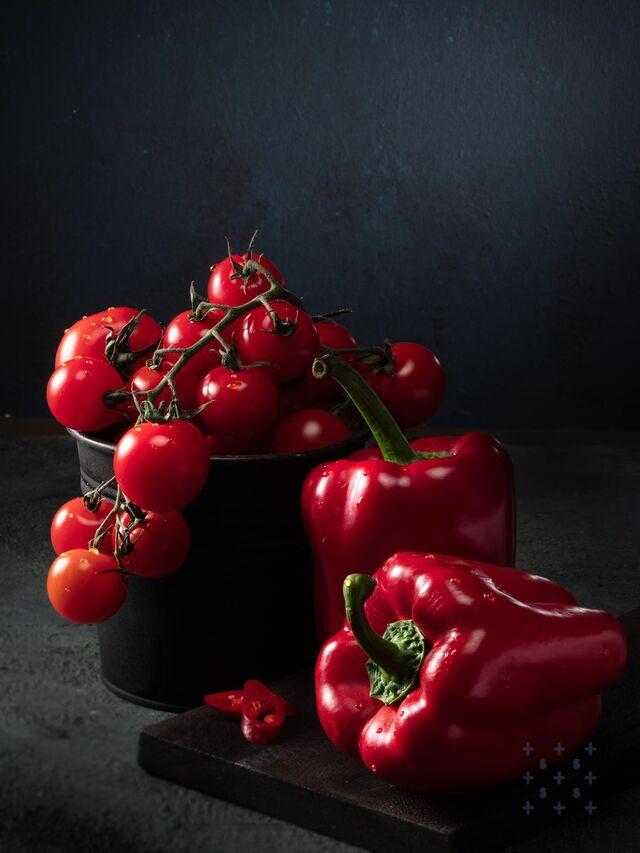 Фотосъемка овощей. Томаты, болгарский перец. Фуд-стилист, фотограф Слава Поздняков.